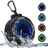 Mindkoo Bocina Bluetooth Portátil, Altavoz Inalámbrico Deportivo con IPX8 Impermeable, Micrófono Incorporado, 4 Modos de Luz LED, Super Bass y Sonido HD para iPhone, iPad, Android, Tabletas (Negro)