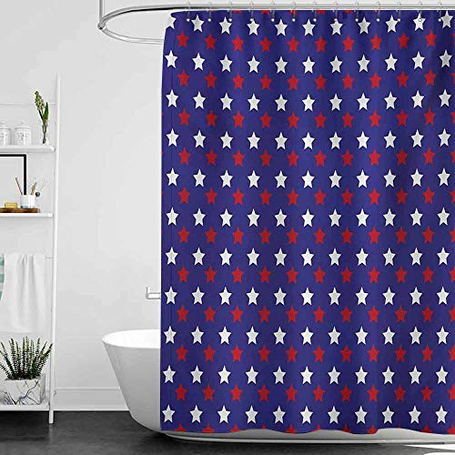 homecoco Shower Curtains Beach Theme USA,United States of America Theme Federal Holiday Celebration Revolution Design,Dark Blue Red White W69 x L72,Shower Curtain for Shower stall