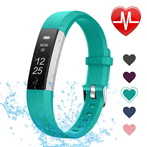 LETSCOM Fitness Tracker with Heart Rate Monitor, Slim and Smart Activity Tracker Watch with Sleep Monitor, Step Counter and Calorie Counter, IP67 Waterproof Pedometer Watch for Kids Women - Tracker Activity Sleep
