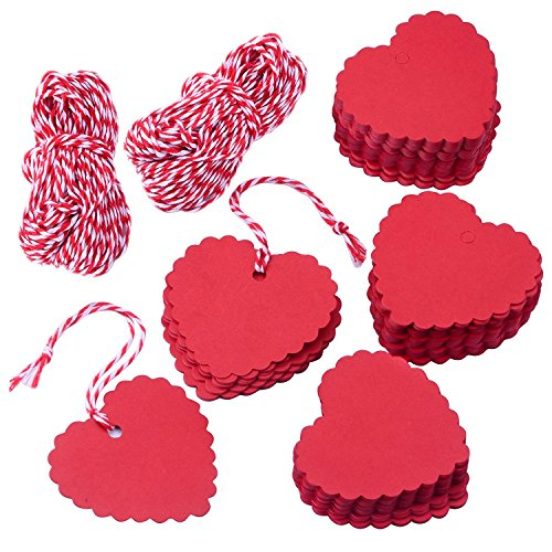 AKA® 100PCS Christmas Kraft Paper Gift Tags Price Wedding Scallop Label Blank Luggage (Heart-Red)