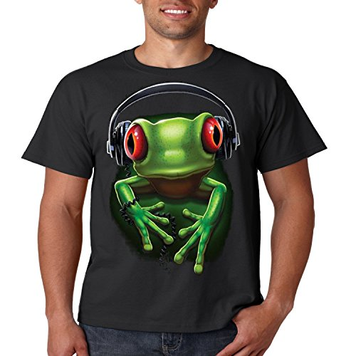 Cool Music T Shirt Frog Rock Liquid Blue Mens Tee S-5XL (Black, - Design T-shirt Frog Black