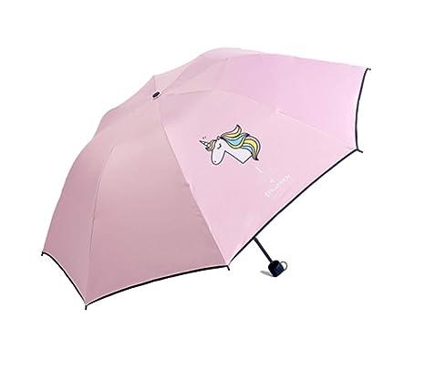 Paraguas Plegable - Mini Plegable Paraguas - con Estampado Unicornio - Resistente Compacto y Antiviento Paraguas