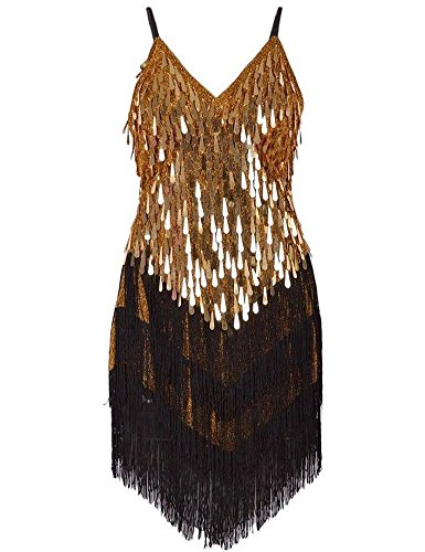 [KAYAMIYA Women's Art Deco 1920s Gatsby Sequins Tassel Sway Flapper Cocktail Dress XS/S Gold] (Tina Turner Wig)