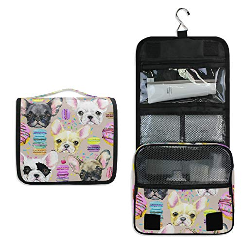 JOYPRINT Hanging Toiletry Bag French Bulldog Watercolor, Makeup Bag Cosmetic Bag Bathroom Travel Organizer Large for Women Girls