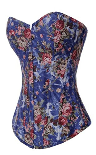 Sexy Corset Floral - Alivila.Y Fashion Sexy Vintage Floral Denim Corset 2767-Blue-3XL