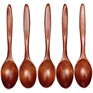 Wooden Spoons, Sonmer 5 Pieces Wood Spoons for Eating Mixing Stirring Cooking, Eco friendly Table Spoon, Long Handle Spoon with Japanese Style Kitchen Utensil - 7 Inch