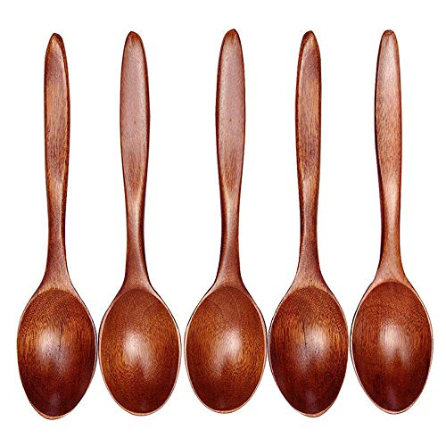 Lace Teaspoon - JPJ(TM)5Pcs Hot Fashion Lot Kitchen Wooden Spoon Bamboo Cooking Utensil Tool Soup Teaspoon Catering