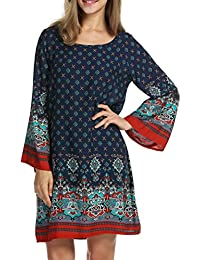 HOTOUCH Women Bohemian Ethnic Style Loose Fit Long Sleeve...