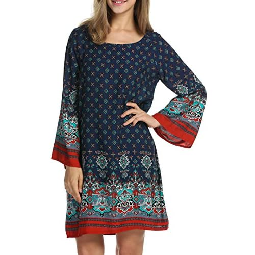 e295cf14518 chic HOTOUCH Women Bohemian Ethnic Style Loose Fit Long Sleeve Printed  Tunic Dress