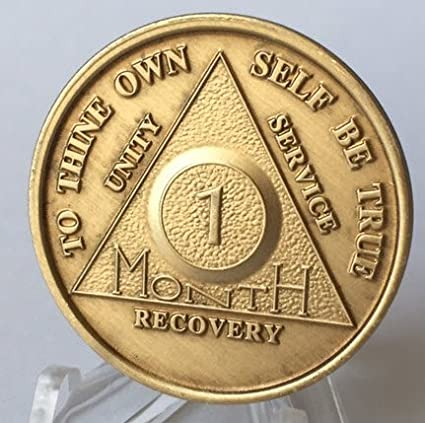 aa alcoholics anonymous 10 month recovery sobriety chip coin token medallion