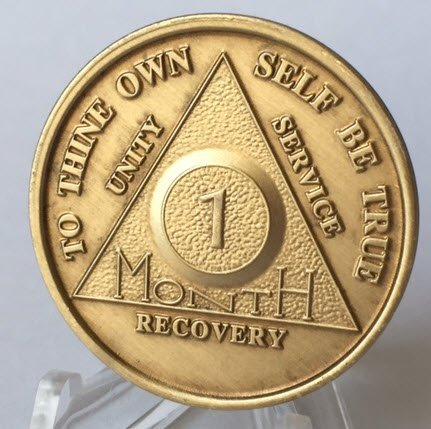 (30 Day 1 Month Bronze AA Anniversary Chip Medallion Coin Alcoholics Anonymous)