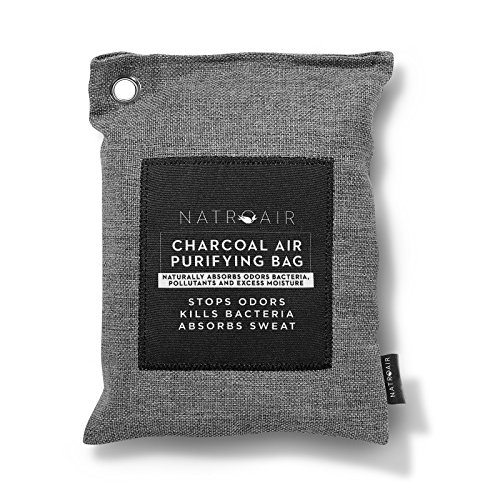 Charcoal Air Purifying Bags  2 pk Natural Bamboo Purifier and Dehumidifier for Cars, Closets and Pet Homes- Absorbs and Removes Odors and Mildew - Lasts up to 2 Years - By Natroair Bamboo Drawing Charcoal