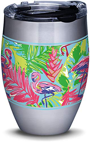 Tervis 1316284 Bright Flamingo Pattern Stainless Steel Insulated Tumbler with Lid, 12 oz, Silver