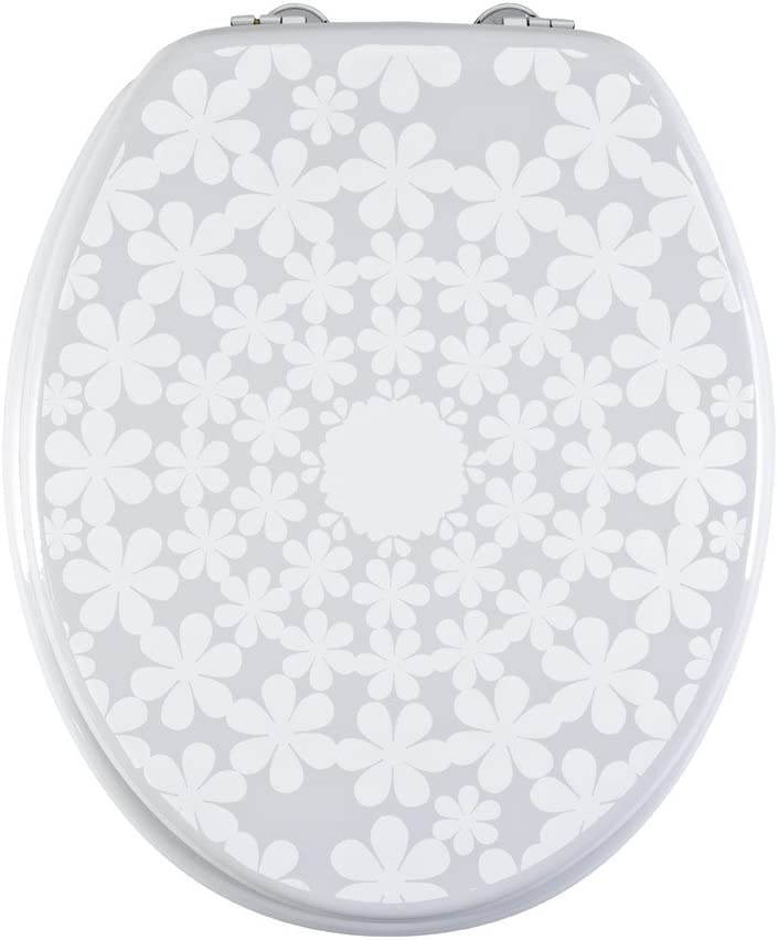 Easy Install Anti-Bacterial Material-Quick Cleaning Stylish-Cirque de Fleur White//Grey AQUALONA Toilet Seats-Moulded Wood White /& Grey