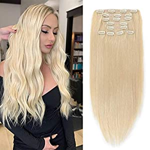 Clip in Hair Extensions Human hair 613 Blond Hair Extensions 120g 9 Pcs 18 Clips Real Human Hair Fine Hair Thick and…