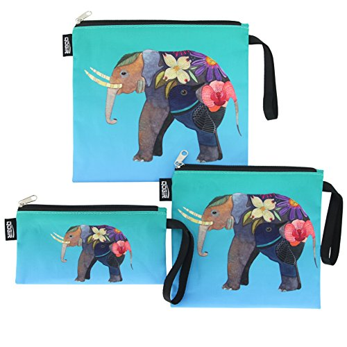 QOGiR Reusable Snack Bags and Sandwich Bags with Handle: Lead-Free,BPA-Free,PVC-Free (Colorful Elephant)