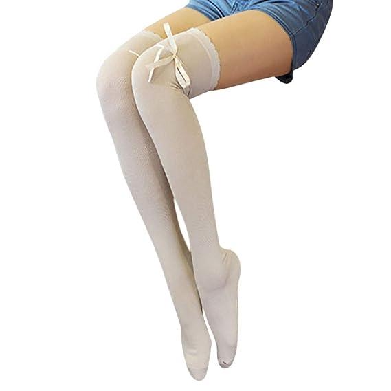 Logobeing Mujeres Nuevo Sobre Rodilla Muslo Medias de Algodón Calcetines Largos Calcetines de Punto Largos CáLido Chicas Señoras Calcetines (A): Amazon.es: ...