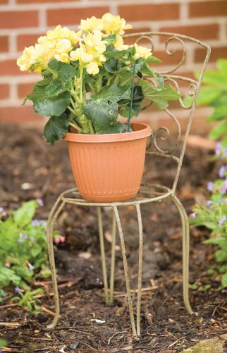 Willow Plant Stand - Panacea Products Whimsical Chair Plant Stand, Antique Willow Finish