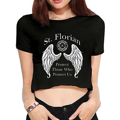 Womens Firefighter Gift St Dew Navel Tees -