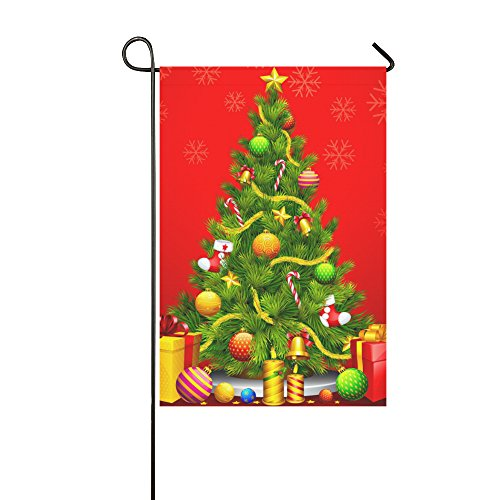 llyaon.iao-Christmas Tree Double Sided Garden Flag for Christmas Holiday-Best for Party Yard and Home Outdoor Decor 12x18in
