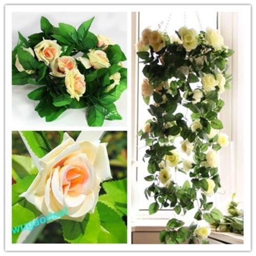 UNAKIM--Artificial Fake Silk Rose Flower Ivy Vine Hanging Garland Wedding - Magnolia Stores Shopping Center