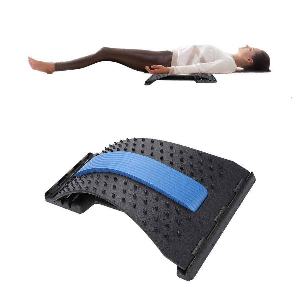 Back Massager Lumbar Support, Lumbar Back Stretcher Device Traction Stretching Relax Spinal Decompression Pillow for Spine Upper and Lower Back Posture Corrector