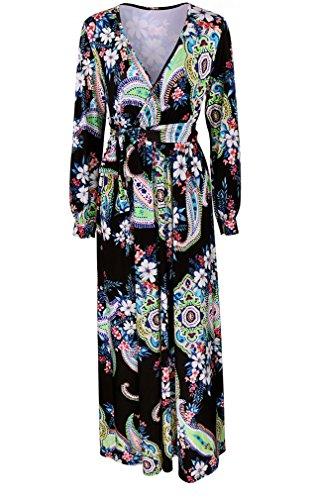 Oversize Abendkleider Damen Cocktailkleid Ethno-Style Langarm Tiefem V-Ausschnitt Taille Vintage Blumendrucken Loose Druckkleider