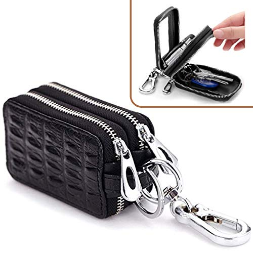 Xzyppci Genuine Leather Car Key Bag with Zipper Double for Auto Remote Key (Black) (Ring Leather Key Auto)