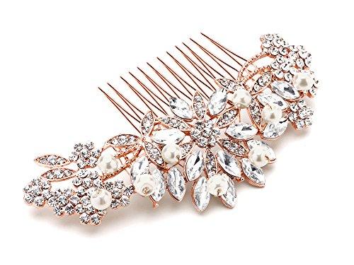 Mariell Rose Gold Vintage Pearl and Mixed Crystal Sunburst Wedding, Bridal, Prom Comb - Retro (14k Designer Jewelry Set)