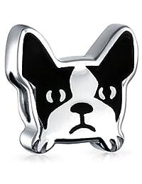 Bling Jewelry Animal Frenchie Bulldog Enamel Bead Charm .925 Sterling Silver