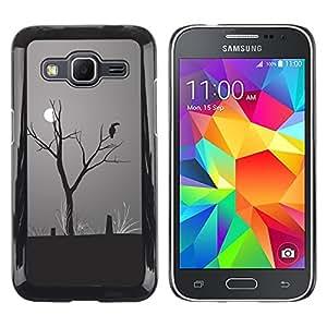 QCASE / Samsung Galaxy Core Prime SM-G360 / Luna arte loro dibujo selva cambio climático / Delgado Negro Plástico caso cubierta Shell Armor Funda Case Cover