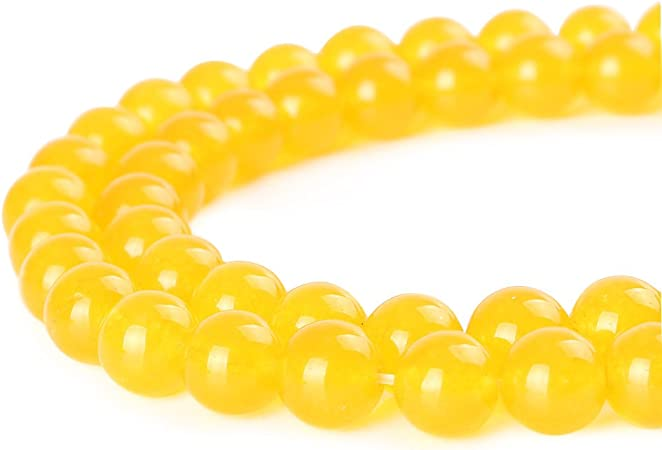 BRCbeads Jade Gemstone Loose Beads Natural Round 4mm Crystal Energy Stone Healing Power for Jewelry Making Yellow