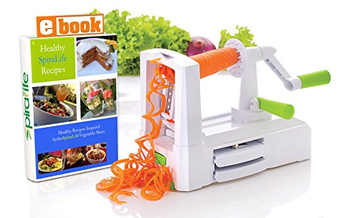 SpiraLife Pro Vegetable Spiralizer, Professional Spiral Vegetable Slicer, Zucchini Spaghetti Maker Kitchen Tool and Recipe eBook Package, 3 blades