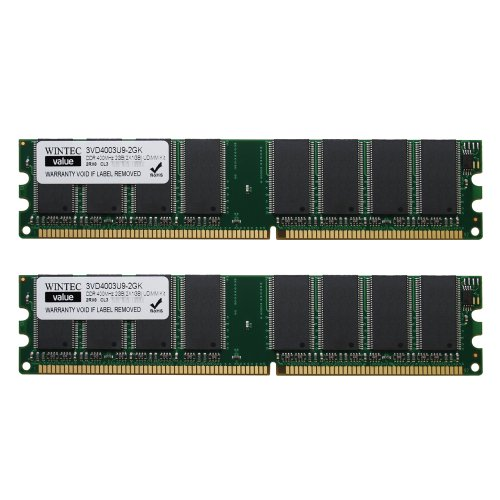 Wintec Value MHzCL3 2GB(2x1GB) UDIMM Kit 2Rx8 2 Dual Channel Kit DDR 400 (PC 3200) 184-Pin SDRAM (Ep 2gb Ddr Sdram Memory)