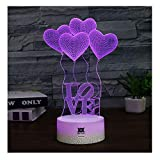 Love Gift for Girl 3D LED Visual Illusion Night Light Xmas Chirstmas Birthday Party Heart Gift Nursery Bedroom Playroom Desk Table Night Lamps Lights for Girl Lovers Kids Room Theme Decor by HUI YUAN