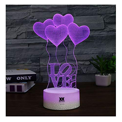 Love Gift for Girl 3D LED Visual Illusion Night Light Xmas Chirstmas Birthday Party Heart Gift Nursery Bedroom Playroom Desk Table Night Lamps Lights for Girl Lovers Kids Room Theme Decor by HUI YUAN by Huiyuan