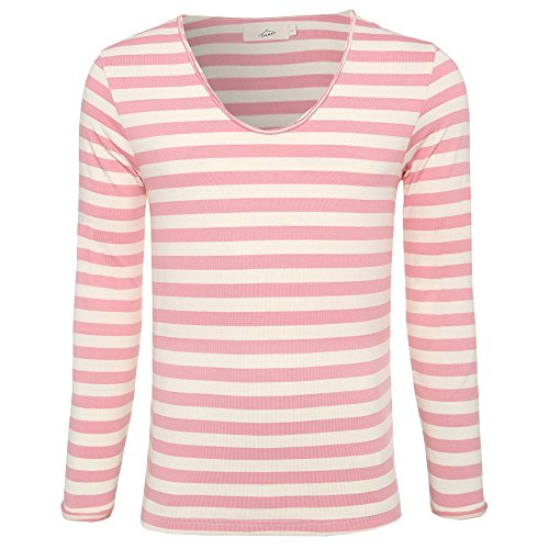 Zecmos Mens Long Sleeve Stripes T-Shirt V-Neck Tshirt Striped Tees 148Pink M Classic Beach Stripe Shirt