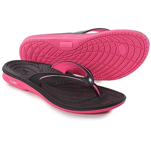 New Balance Womens Cush Thong Sandal (6 B(M) US, Black/Knockout (Flip Flops Arch Support)