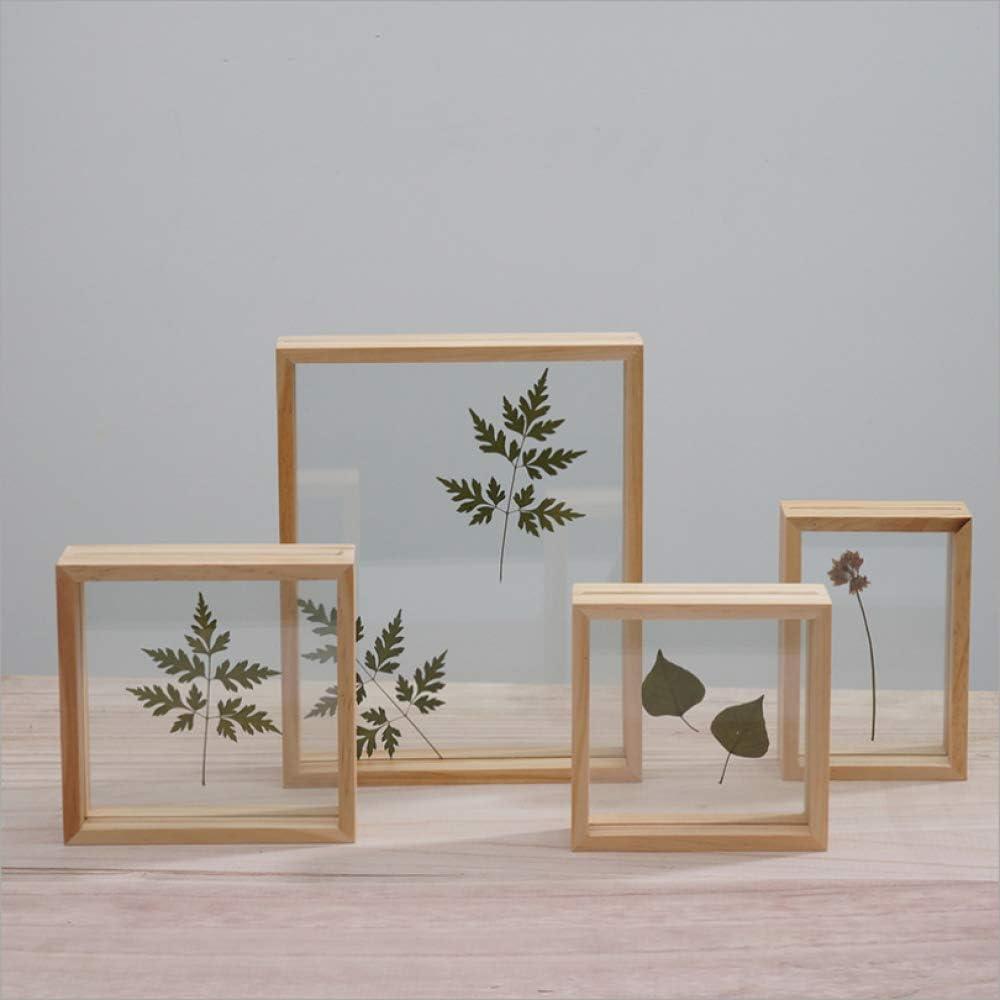 Nuevo conjunto de mesa cuadrada creativa marco de cuadro de flor seca pared de doble cara marco de foto de madera maciza marco de muestra de planta 5 pulgadas