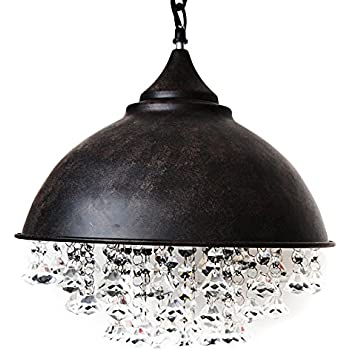 ceiling light mklot industrial retro style rust wrought iron shaded glittering crystal beads hanging aged