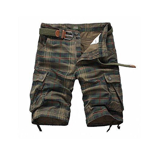 EVERDESIGN Mens Casual Plaid Cotton Cargo Shorts Patchwork Shorts with Pockets Zipper Shorts for Daily Wear