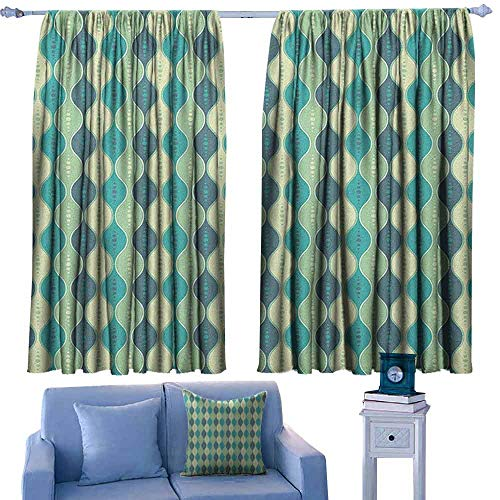 Abstract Door Curtains Oval Curved Vertical Lines with Classic Effects Dots Retro Graphic,Home Decor Fashion Backout Draperies,W55 x L39 Inch