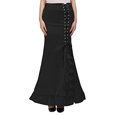 371b3368a4 Women Skirt Punk Vintage Gothic Ruffled Steampunk High Waist Maxi Mermaid  Style (S, Black2