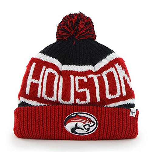 '47 Houston Cougars Red Cuff Calgary Beanie Hat with Pom - NCAA Cuffed Winter Knit Toque Cap