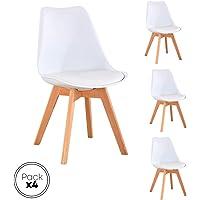 Beat Vintage-20 blanca Silla patas madera