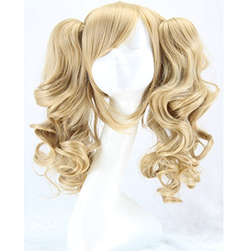 RightOn 16'' Women Cosplay Costume Party Wigs with Ponytails with Wig Cap and Comb (Light Blonde) (Sexy Costumes Online)