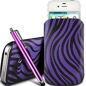 Online-Gadgets UK - HTC Wildfire Protección PU cuero Zebra Diseño deslizamiento cordón tirador de la cremallera en la caja de la bolsa con cierre rápido y grande Stylus Pen - Purple