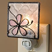 J Devlin NTL 129 Stained Glass Dusty Pink Rose Flower Night Light Decorative Bedroom Bathroom Nursery Lite