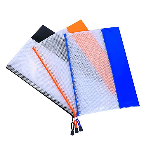 MHHDAL Zip File Folder Bags,A4 Plastic Zip Lock Wallets Document Paper Folder,Bags Waterproof Surface with Soft Thickened Material,Perfect for Offices School,Cosmetic,Travel Storage,Larger Size ()