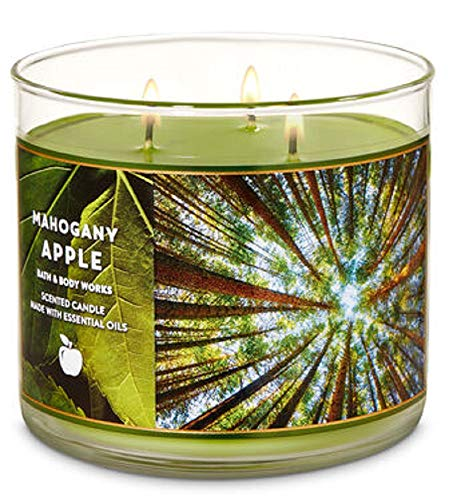 Bath and Body Works 3 Wick Scented Candle Mahogany Apple 14.5 Ounce (Candle Mahogany Scented)